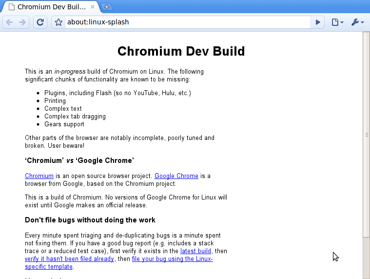 bildschirmfoto-chromium-dev-build-warning-chromium