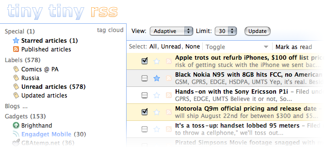 web-based RSS reader